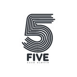 Black and white number five logo formed by repeating lines Royalty Free Stock Photo