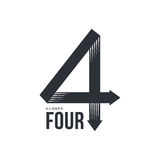 Black and white number four logo formed by three arrows. Black and white number four logo formed by two arrows, vector illustrations isolated on white background Stock Images