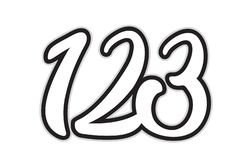 123 black and white number logo icon design. Design of black and white number 123 suitable as a logo for a company or business royalty free illustration