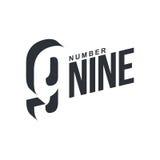 Black and white number nine diagonal logo template Stock Photos