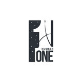 Black and white number one diagonal logo template. Vector illustrations isolated on white background. Graphic logo with diagonal logo with three dimensional Royalty Free Stock Photo