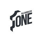 Black and white number one diagonal logo template Royalty Free Stock Images