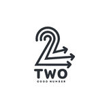 Black and white number two logo formed by three arrows. Vector illustrations isolated on white background. Black and white graphic number two logotype template Royalty Free Stock Photography