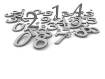 Black and white numbers. Background. 3d rendered illustration Stock Photos