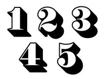 Black and white numbers digits 1, 2, 3, 4, 5 Stock Image