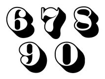 Black and white numbers digits 6, 7, 8, 9, 0 Stock Photos