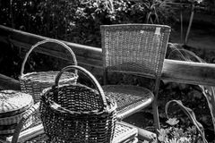 Black and white objects. Black and white handmade decorative objects royalty free stock photo