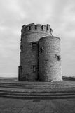 Black and White OBriens Tower Ireland. Beautiful black and white landscape at the famous Cliffs of Moher and  O`Brien`s Tower in Co. Clare, Europe, ireland Royalty Free Stock Photo
