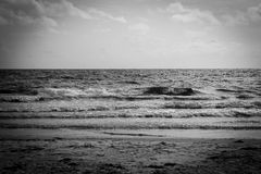 Black and White Ocean Waves Stock Photography
