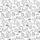 Black and white oceanic sea seamless pattern with cute whale.  Royalty Free Stock Photos