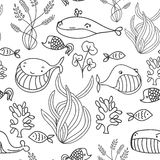 Black and white oceanic sea seamless pattern with cute whale. Great background for sea party invitation or tile textile. Stock Photo