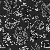 Black and white oceanic sea seamless pattern with cute whale. Great background for sea party invitation or tile textile. Stock Photography