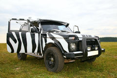 Black an white off-road car Stock Photo