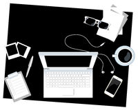 Black and white office desk vector illustration flat style with place for text Royalty Free Stock Images