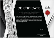 Black white official certificate with stripedsilver glittering design elements and wafer Stock Images