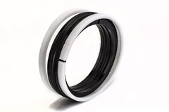 Black and white oil seal isolated on white background Royalty Free Stock Photography