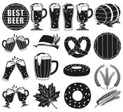 Black and white 18 oktoberfest elements silhouette. Set. Beer festival collection. Autumn festive vector illustration for icon, sticker, patch, label, badge vector illustration
