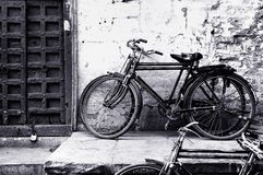 Black and white old bicycle Royalty Free Stock Photos