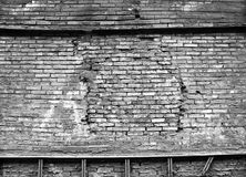 Black and white old brick wall. Abstract industrial background, pattern Royalty Free Stock Photo