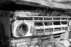 Black and White old car with limited focused part. Royalty Free Stock Images