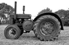 Black and White: Old classic tractor Royalty Free Stock Images