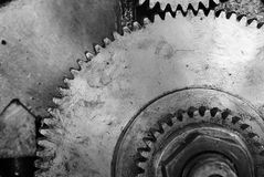 Black and white old gear royalty free stock photography