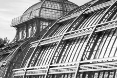Black and white old greenhouse construction Royalty Free Stock Images