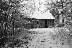 Black and White Old House. In the snow Stock Images