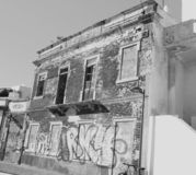 Black and white deserted and run down old building in Portugal royalty free stock photography