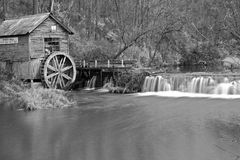 Black and white old mill Royalty Free Stock Photo