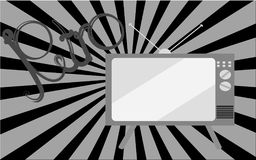 Black and white old retro vintage TV picture and retro inscription on a background of black and white rays. Vector illustration Stock Image