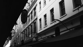 Black and white. A old street in Melbourne Stock Images