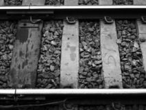 Black and White Old Tracks. Old picture of a railroad tracks Stock Photography