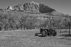 Black and White old tractor.. Royalty Free Stock Image