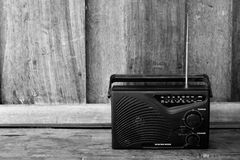 Black and white , old transistor radio Stock Photos