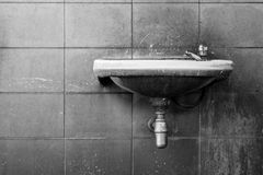 Black and white of old washbasin Royalty Free Stock Images