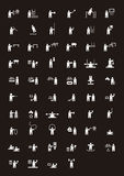 Black and white Olympic sports icons. Black and white flat icons for summer Olympic sporting events Stock Photo
