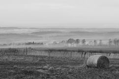 Black and white of one hay bale and the morning Fog on the hillside Royalty Free Stock Images