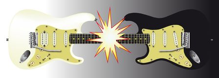 Black and White. One black and one white electric guitar meeting together at the neck and creating a large flash Royalty Free Stock Photo