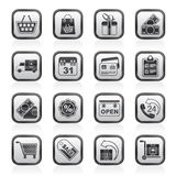 Black and white online shop icons Royalty Free Stock Images