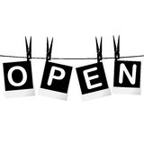 Black and white Open sign Royalty Free Stock Photos