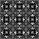 Black and white optical illusion, raster seamless pattern Royalty Free Stock Images