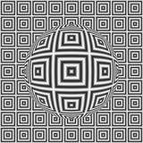 Black and white optical illusion square pattern with 3D sphere Stock Photography