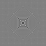 Black and white optical illusion square seamless pattern with 3D sphere Stock Photos