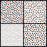 Black white and orange chaotic ethnic geometric seamless patterns set, vector Royalty Free Stock Photo