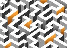 Black, white and orange maze, labyrinth. Endless pattern - horizontal version Stock Photos