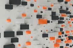 Black, white and orange rectangular shapes of random size on whi. Te background. Wall of cubes. Abstract background. 3D rendering illustration Royalty Free Stock Photo