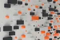 Black, white and orange rectangular shapes of random size on whi Royalty Free Stock Photo