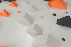 Black, white and orange rectangular shapes of random size on whi Royalty Free Stock Photography