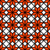 Black white and orange simple star shape geometric seamless pattern, vector Stock Photos